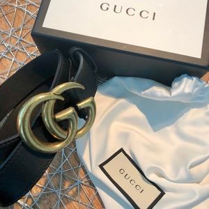 Authentic Gucci Double G Belt Blk w Store Reciept